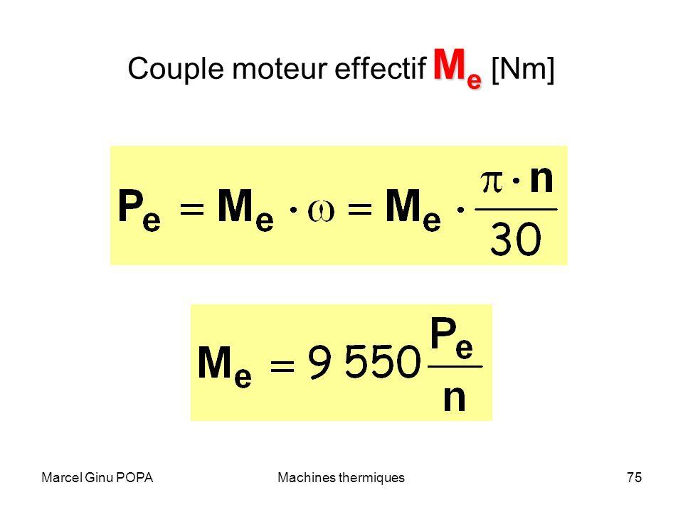 Couple moteur effectif Me [Nm]